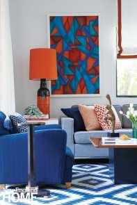 blue and orange family room