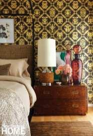 master bedroom, wallpaper, Henredon chest