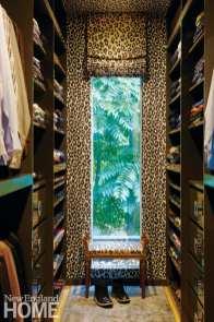 master bedroom walk-in closet, animal-print wallpaper