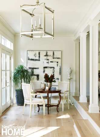 antique table, chairs painted white