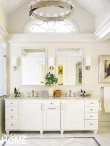 white double vanity in master bathroom