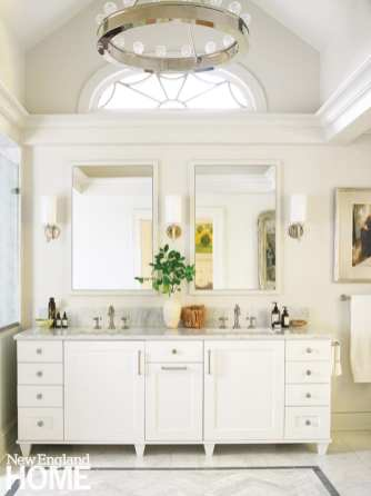 white double vanity in master bathroom