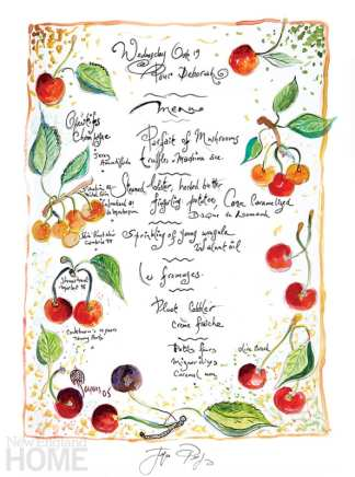 hand-written menu with drawn fruits and vegetables