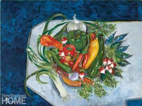 Painting of vegetables on a platter