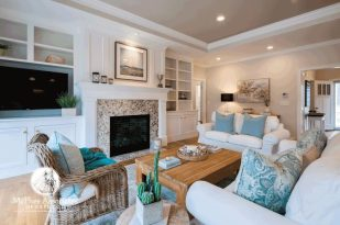 Cape Cod Home living area with fireplace