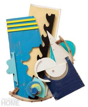 """Deconstructed Summer (2013), found painted wood, 36""""H × 28""""W × 3""""D"""