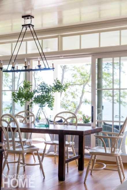 casual dining room with french doors that open onto the terrace