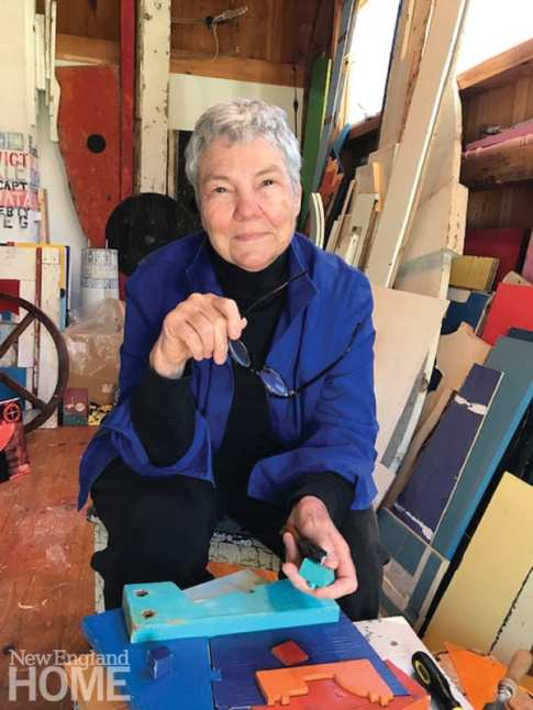 Artist Mike Wright in her studio