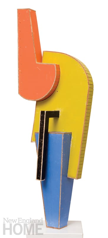 "Modernist Sculpture #2 (2012), found painted wood, 49""H × 18""W × 12""D"