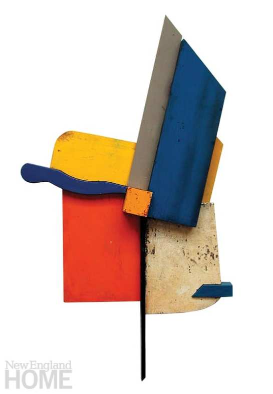 """Sunset # 2 (2003), painted found wood, 60""""H × 48""""W × 8""""D"""