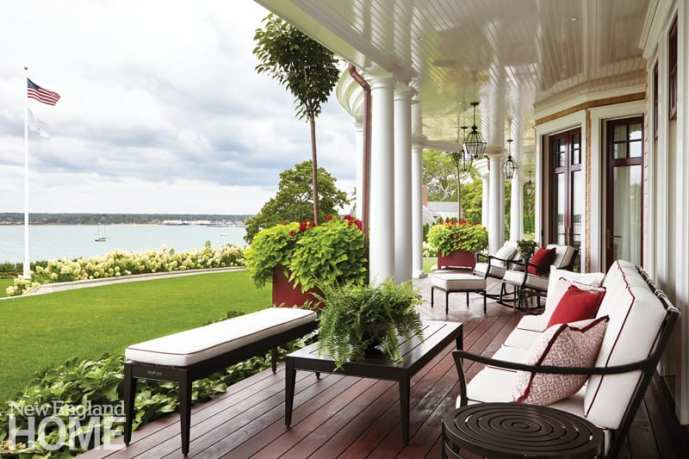 A side porch is perfect for informal gatherings.
