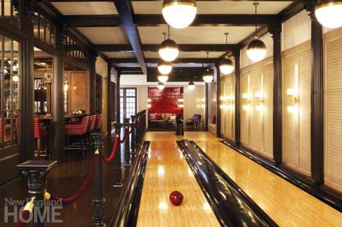 The fun-loving homeowners and their guests enjoy lively bowling competitions.