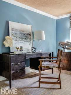 a newport vacation home's office with blue walls