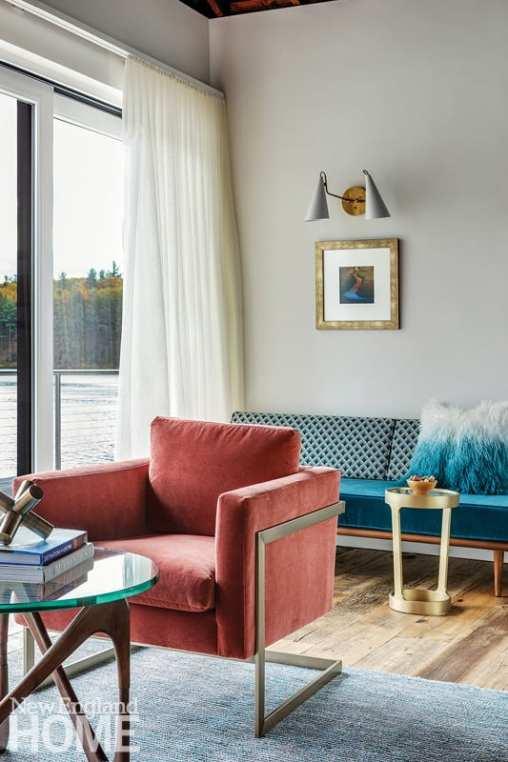 small space living velvet chair