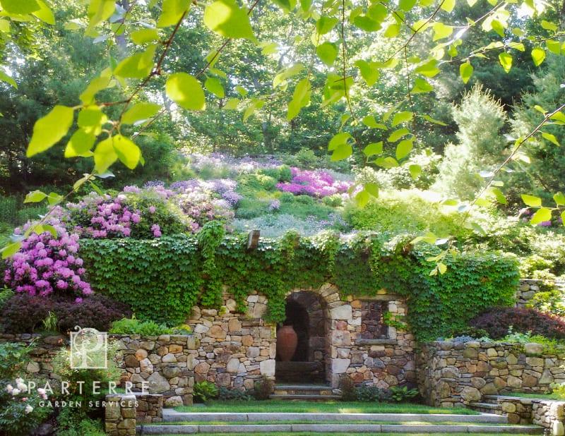 arch ivy hydrangeas lawn steps hillside