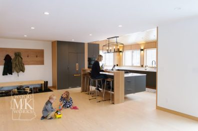 ways to modernize custom cabinets kids playing on floor