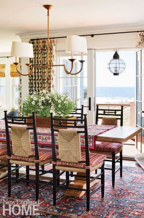 bright maine summer home dining room