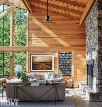 sophisticated berkshires cabin living room