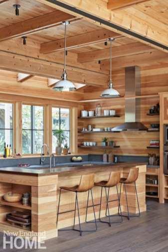 sophisticated berkshires cabin kitchen