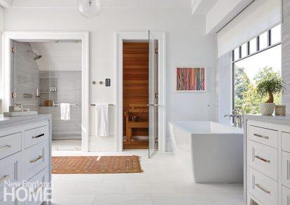 modern riverside home master bathroom