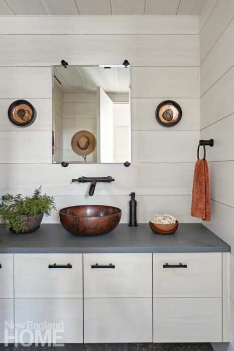 resort-inspired pool house washroom