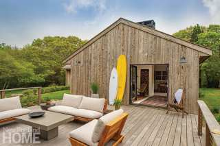 Cypress clad home and ipe deck on Martha's Vineyard