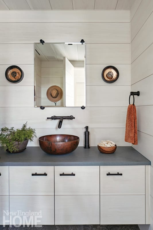Bathroom with a vessel sink
