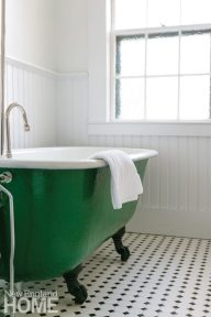 Green vintage claw footed tub