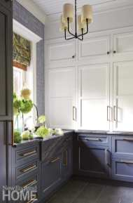 Panty with white and gray cabinetry