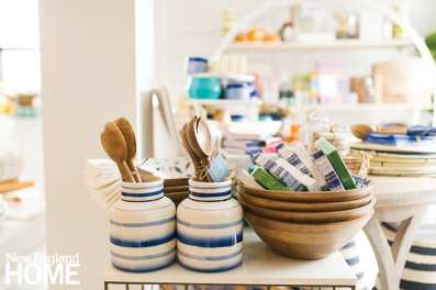 wooden bowls and blue and white pottery