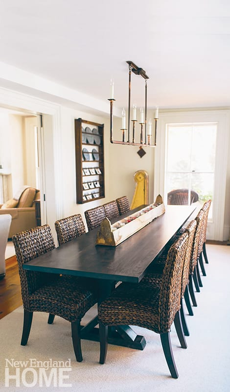 The inn's meeting room was originally a sleeping porch; the table was crafted using wood from a 200-year-old maple tree that had to be removed from the property.