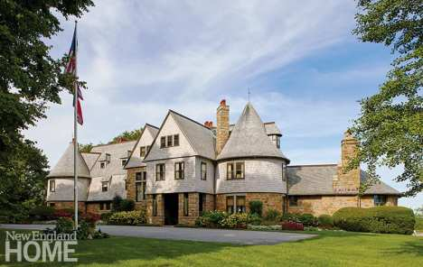 The home's classic stone-and-shingle façade is a study in understated elegance.