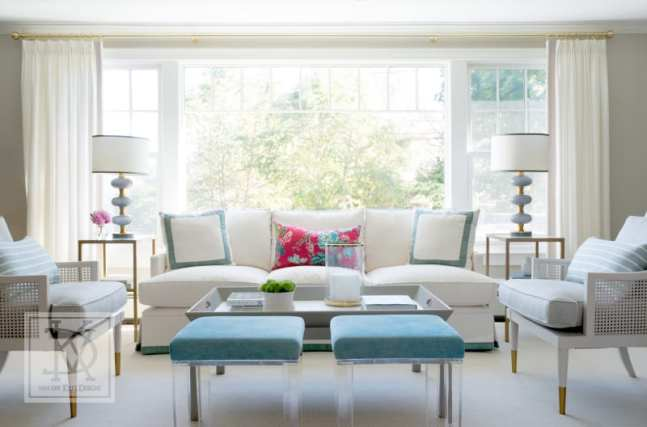 van der Kieft chose a soothing palette with an understated coastal vibe for a light and airy living room in Marblehead, Massachusetts.