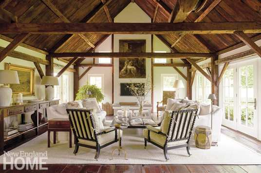 LandscapingHP Broom Housewright's Skip Broom found the blacksmith's shop whose rafters and framing form the great room in the home of Nancy and Paul FitzPatrick. Designer Carol-Ann Speros freshened the home with a neutral palette and a mix of traditional and contemporary furnishings.