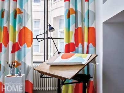 Colorful cotton fabrics made from Liz Roach's Optomist fabric line for Pierre Frey.