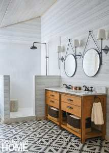 Bathroom with cement tile floor