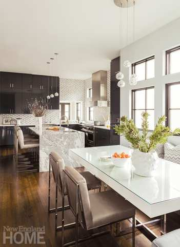 Contemporary kitchen with dark wood cabinetry
