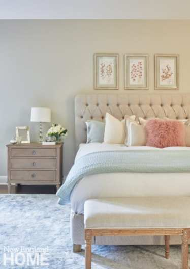 Neutral bedroom with tufted headboard