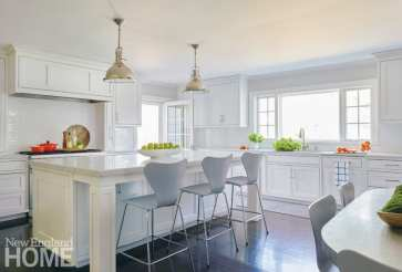 White kitchen with contemporary gray bar stools