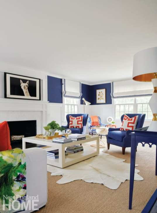 Living room with blue and orange furnishings