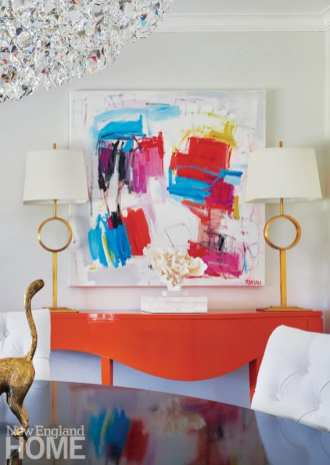 Bright orange console table