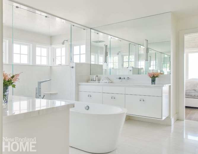 All white bathroom designed by Julie Nightingale.