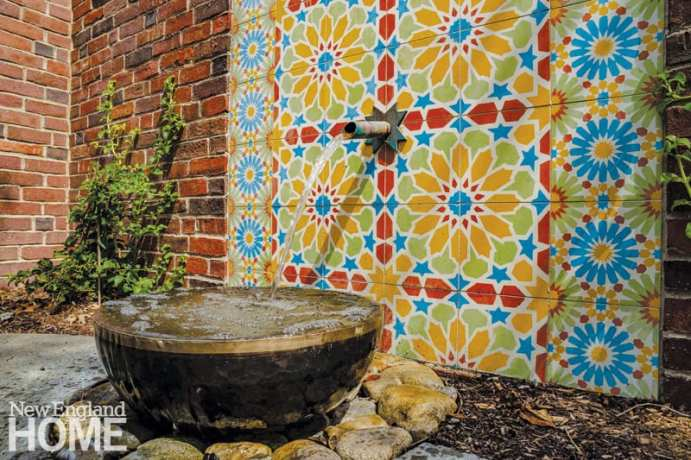 Colorful mosaic and fountain in a Hammam