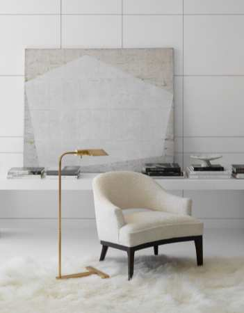 The William Pharmacy Floor Lamp designed by J. Randall Powers for Visual Comfort feels at home both contemporary and traditional spaces.