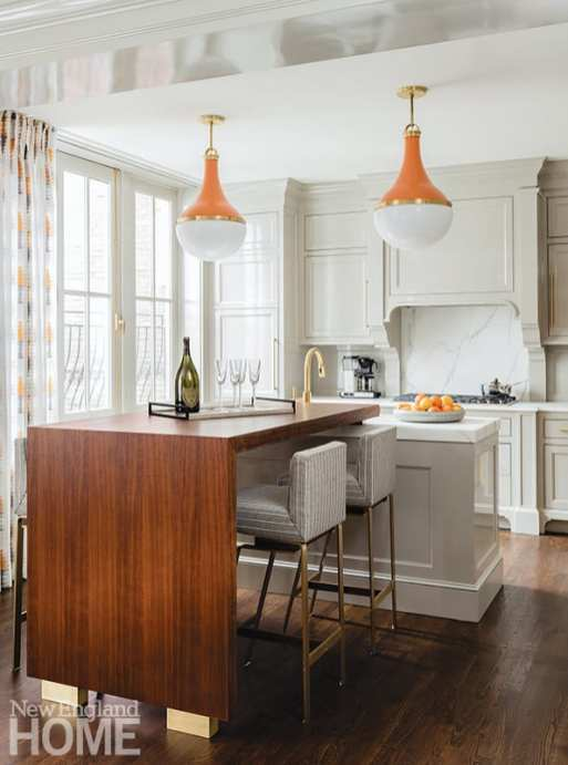 White kitchen with walnut table