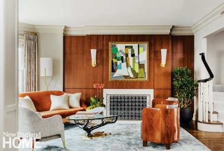Living room with walnut paneling.
