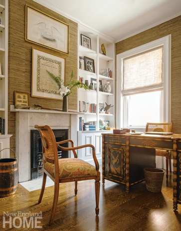Upstairs, the homeowners' antique desk and cane-back chairs (reupholstered in de Le Cuona fabric) steal the show in the office.