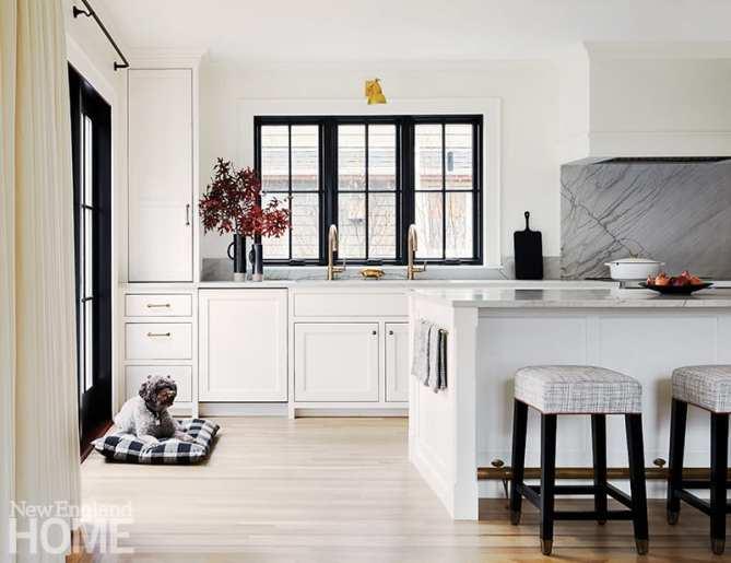White kitchen with black interior windows