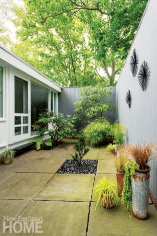Garden designer Barry Archung pruned the existing rhododendrons in the bedroom's pocket garden and added bamboo and a Dutch yew that he top dressed with polished stones.