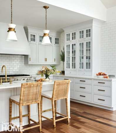 White kitchen with Serena & Lily chairs
